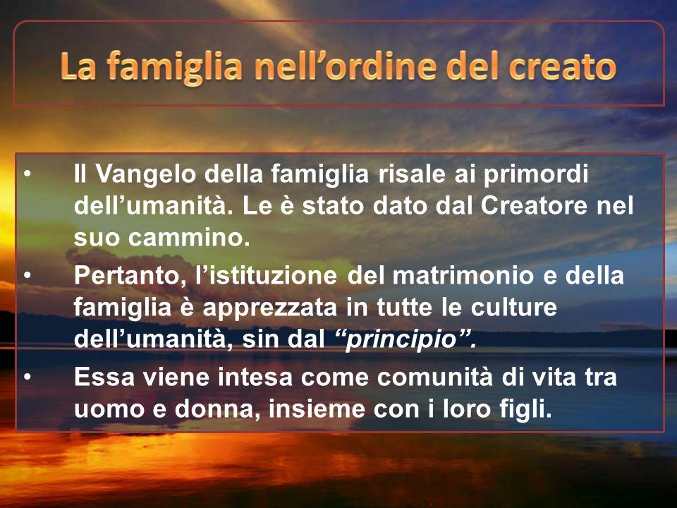 Il Vangelo della famiglia risale ai primordi dell'umanità. Le è stato dato dal Creatore nel suo cammino. Pertanto, l'istituzione del matrimonio e dell