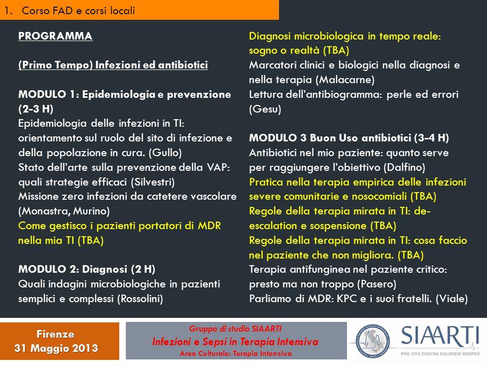 Gruppo di studio SIAARTI Infezioni e Sepsi in Terapia Intensiva Area Culturale: Terapia Intensiva Firenze 31 Maggio 2013 1.Corso FAD e corsi locali PR