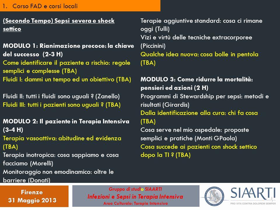 Gruppo di studio SIAARTI Infezioni e Sepsi in Terapia Intensiva Area Culturale: Terapia Intensiva Firenze 31 Maggio 2013 1.Corso FAD e corsi locali (S
