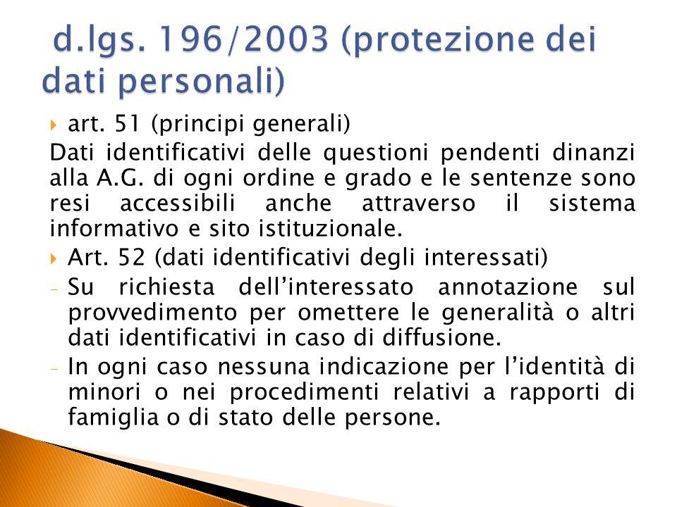  art. 51 (principi generali) Dati identificativi delle questioni pendenti dinanzi alla A.G. di ogni ordine e grado e le sentenze sono resi accessibil
