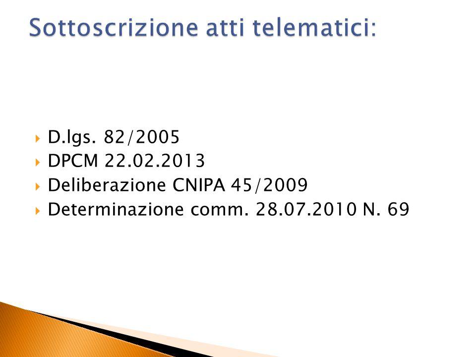  D.lgs. 82/2005  DPCM 22.02.2013  Deliberazione CNIPA 45/2009  Determinazione comm. 28.07.2010 N. 69