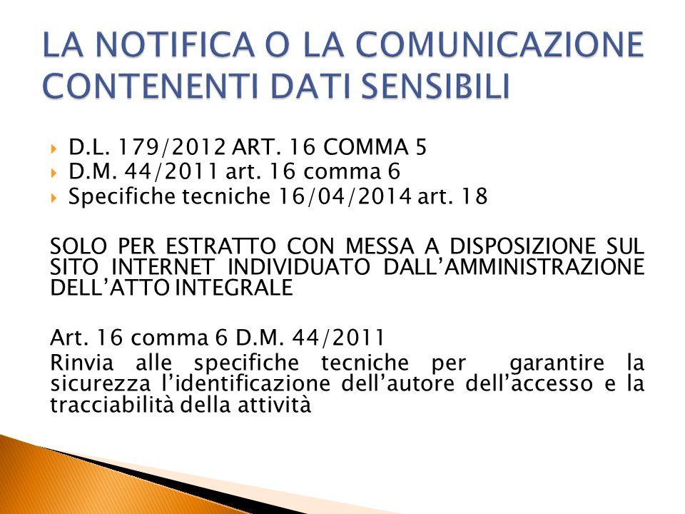  D.L. 179/2012 ART. 16 COMMA 5  D.M. 44/2011 art. 16 comma 6  Specifiche tecniche 16/04/2014 art. 18 SOLO PER ESTRATTO CON MESSA A DISPOSIZIONE SUL