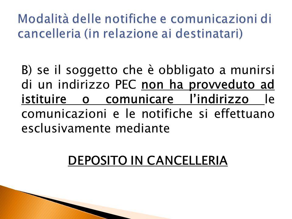 B) se il soggetto che è obbligato a munirsi di un indirizzo PEC non ha provveduto ad istituire o comunicare l'indirizzo le comunicazioni e le notifich