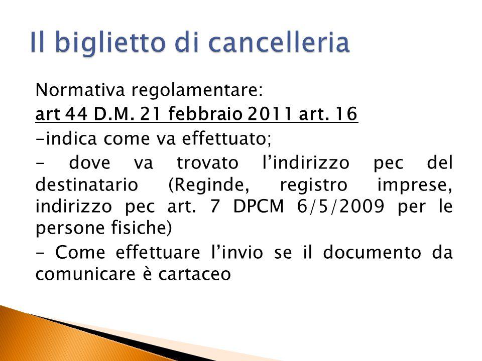 Normativa regolamentare: art 44 D.M. 21 febbraio 2011 art. 16 -indica come va effettuato; - dove va trovato l'indirizzo pec del destinatario (Reginde,