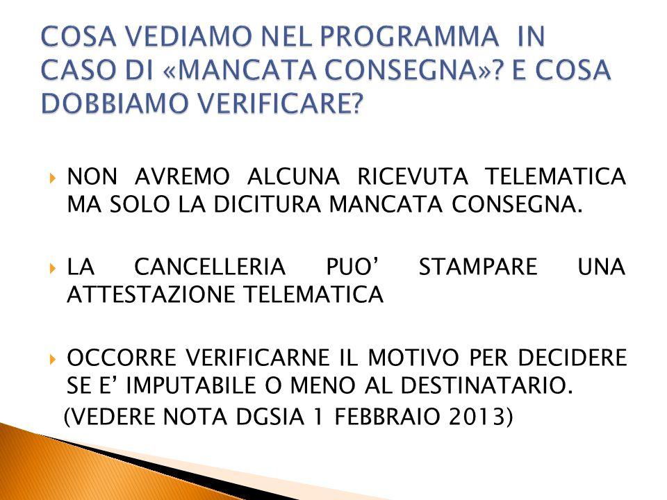  NON AVREMO ALCUNA RICEVUTA TELEMATICA MA SOLO LA DICITURA MANCATA CONSEGNA.  LA CANCELLERIA PUO' STAMPARE UNA ATTESTAZIONE TELEMATICA  OCCORRE VER