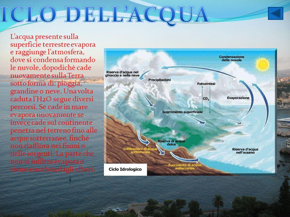 L'acqua presente sulla superficie terrestre evapora e raggiunge l'atmosfera, dove si condensa formando le nuvole, dopodichè cade nuovamente sulla Terr