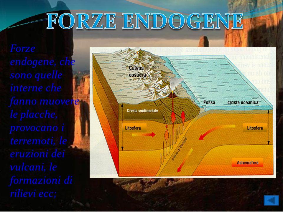 Forze endogene, che sono quelle interne che fanno muovere le placche, provocano i terremoti, le eruzioni dei vulcani, le formazioni di rilievi ecc;