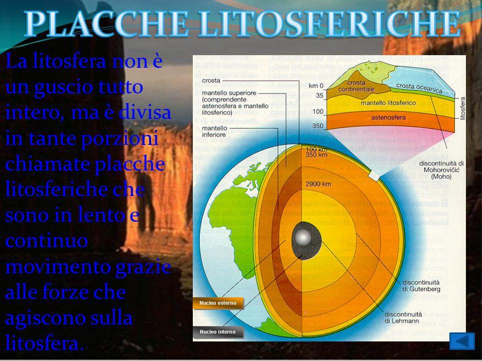 La litosfera non è un guscio tutto intero, ma è divisa in tante porzioni chiamate placche litosferiche che sono in lento e continuo movimento grazie a