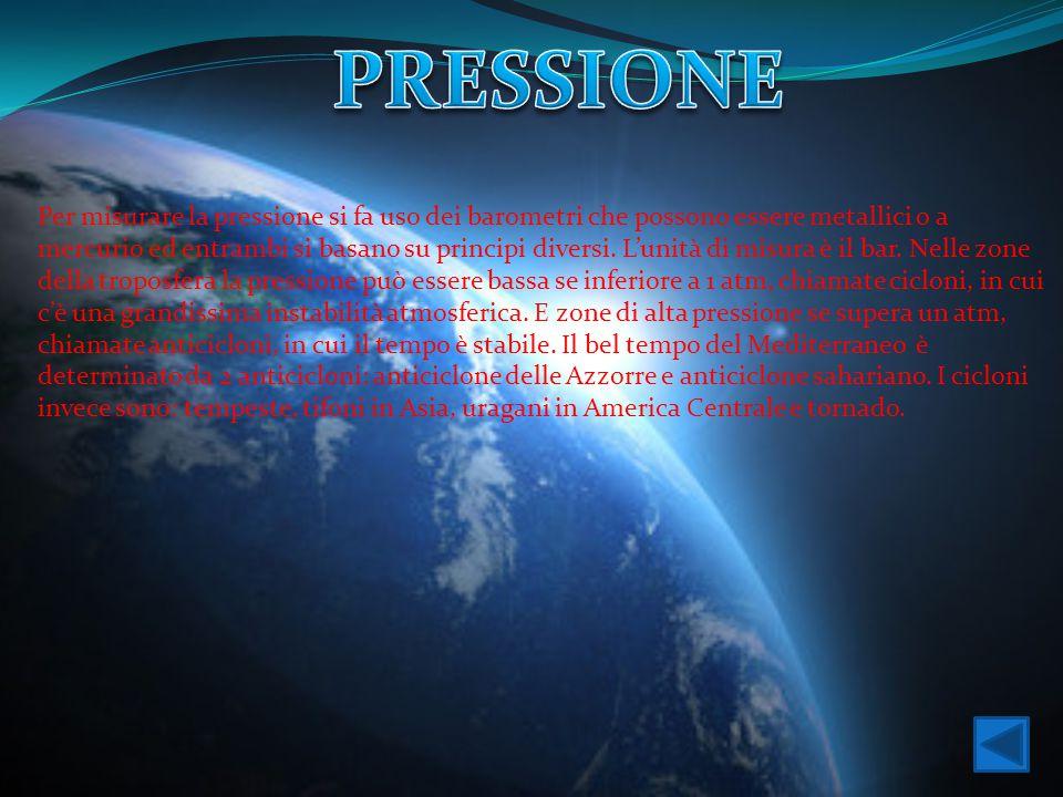Per misurare la pressione si fa uso dei barometri che possono essere metallici o a mercurio ed entrambi si basano su principi diversi. L'unità di misu