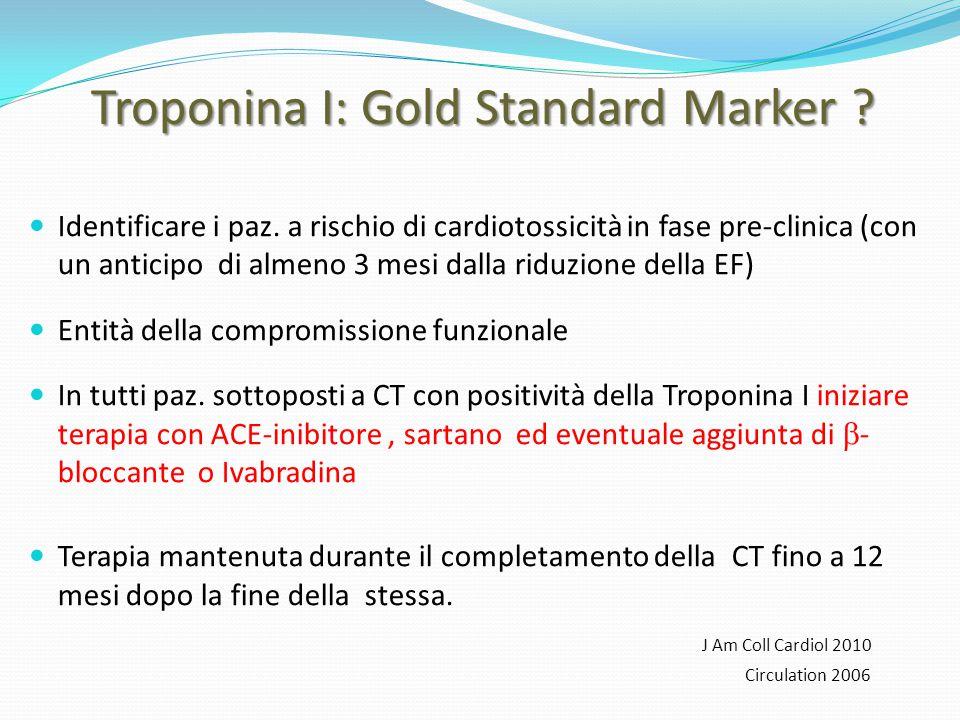 Troponina I: Gold Standard Marker ? Identificare i paz. a rischio di cardiotossicità in fase pre-clinica (con un anticipo di almeno 3 mesi dalla riduz