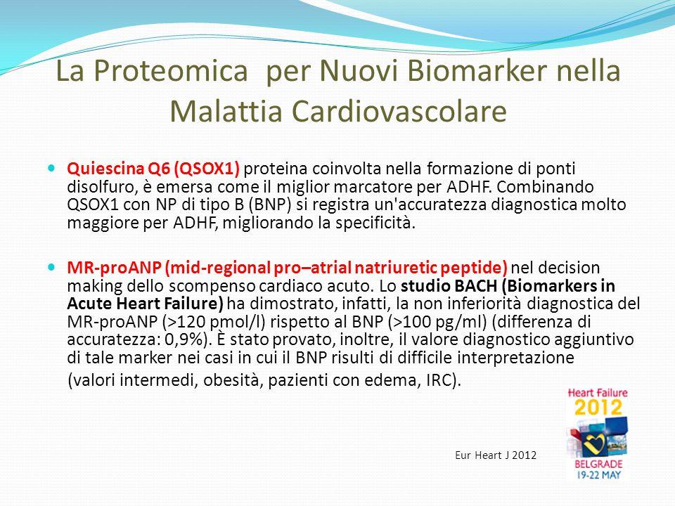 La Proteomica per Nuovi Biomarker nella Malattia Cardiovascolare Quiescina Q6 (QSOX1) proteina coinvolta nella formazione di ponti disolfuro, è emersa