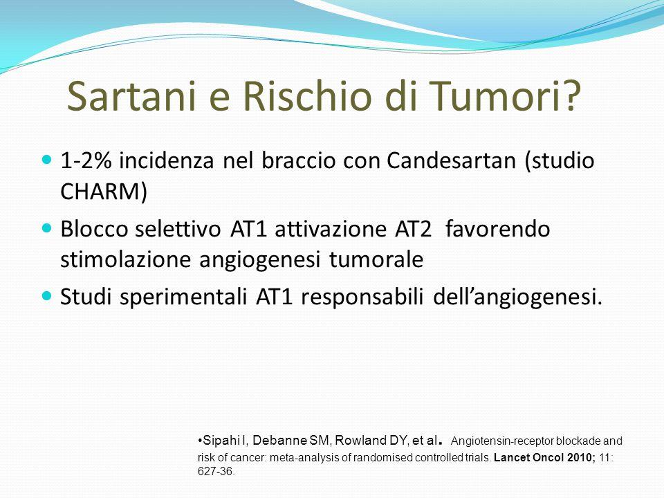 Sartani e Rischio di Tumori? 1-2% incidenza nel braccio con Candesartan (studio CHARM) Blocco selettivo AT1 attivazione AT2 favorendo stimolazione ang