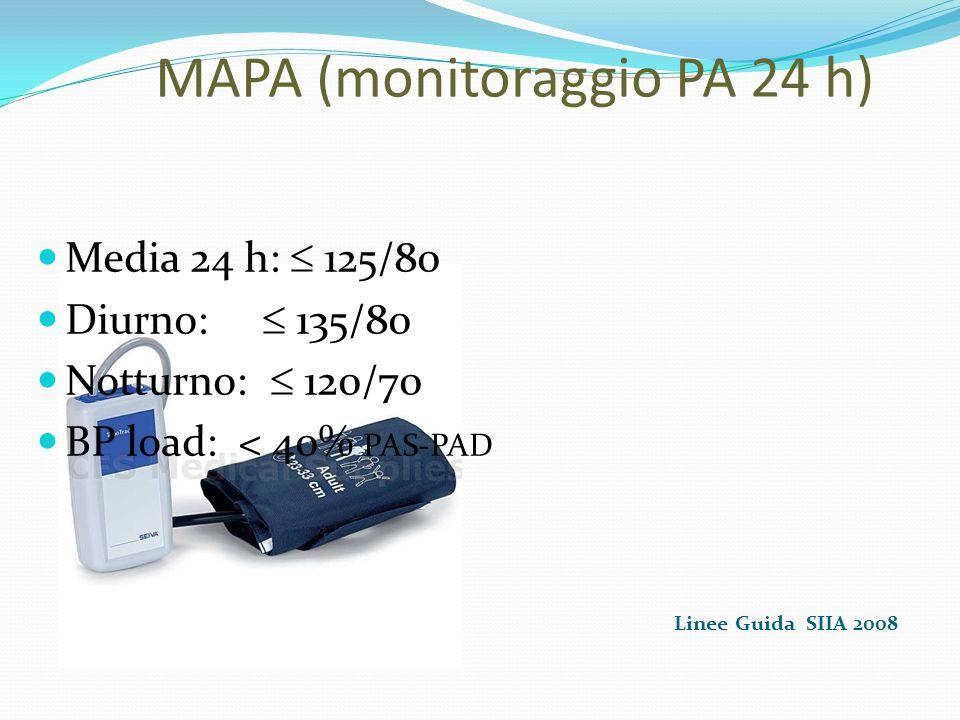 MAPA (monitoraggio PA 24 h) Linee Guida SIIA 2008 Media 24 h:  125/80 Diurno:  135/80 Notturno:  120/70 BP load: < 40% PAS-PAD