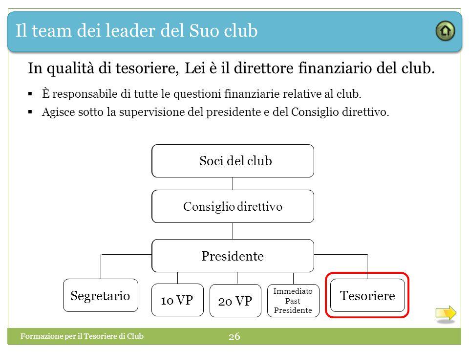Il team dei leader del Suo club Formazione per il Tesoriere di Club 26 In qualità di tesoriere, Lei è il direttore finanziario del club.
