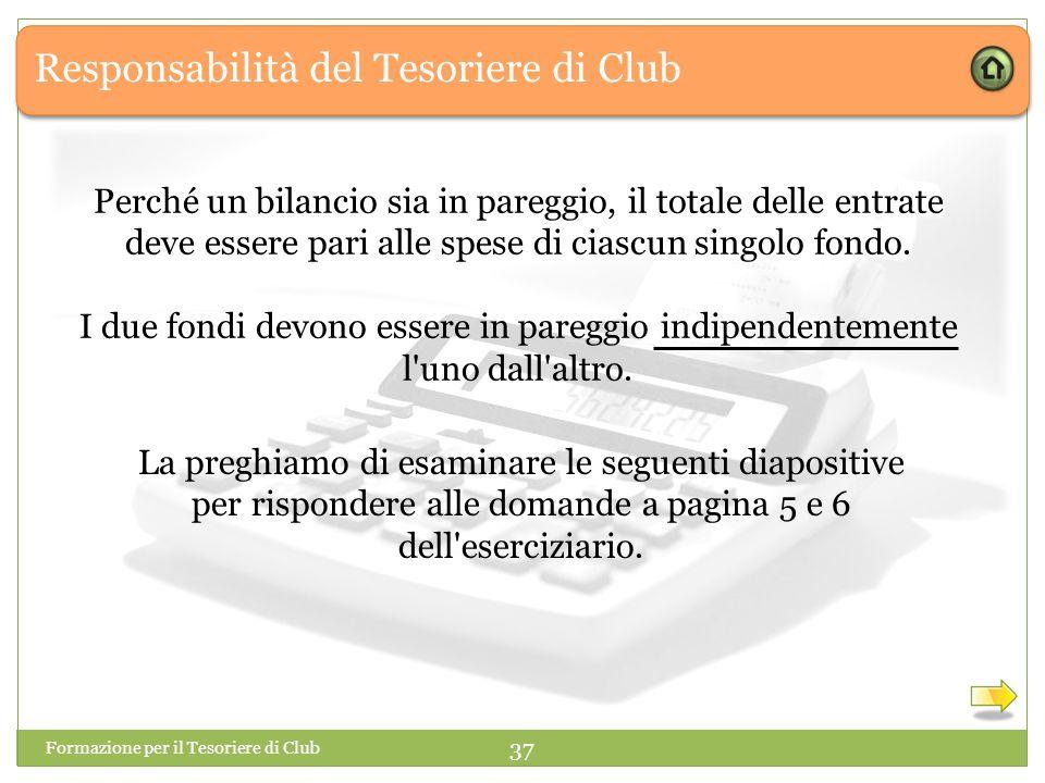 Responsabilità del Tesoriere di Club Formazione per il Tesoriere di Club 37 Perché un bilancio sia in pareggio, il totale delle entrate deve essere pari alle spese di ciascun singolo fondo.