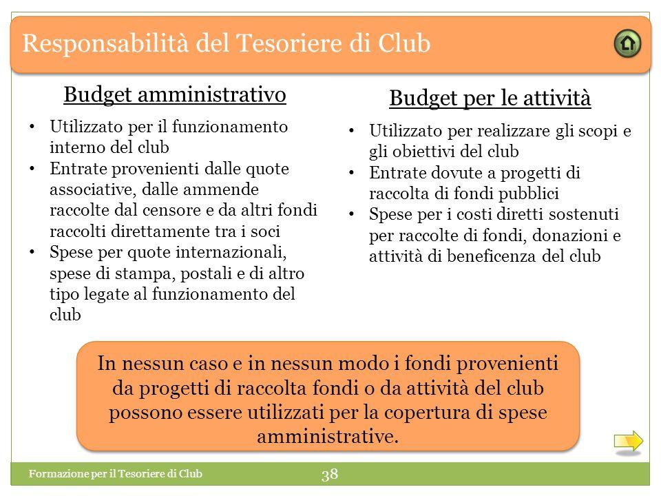 Responsabilità del Tesoriere di Club Formazione per il Tesoriere di Club 38 In nessun caso e in nessun modo i fondi provenienti da progetti di raccolta fondi o da attività del club possono essere utilizzati per la copertura di spese amministrative.