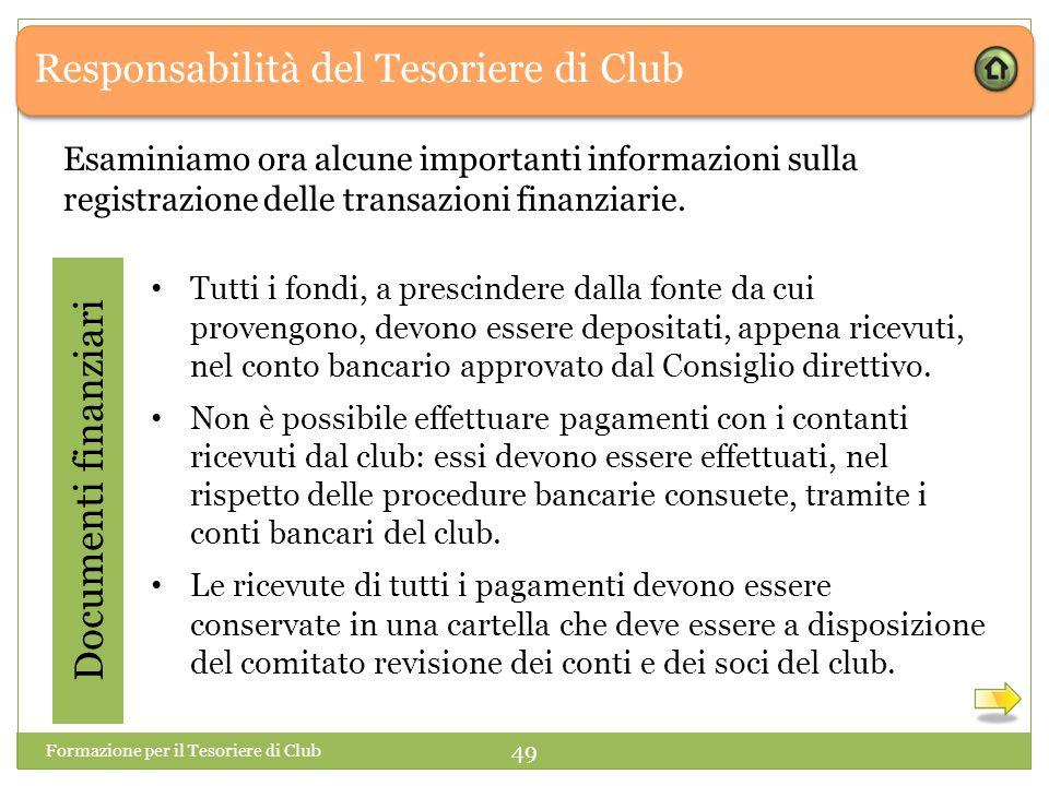 Responsabilità del Tesoriere di Club Esaminiamo ora alcune importanti informazioni sulla registrazione delle transazioni finanziarie.
