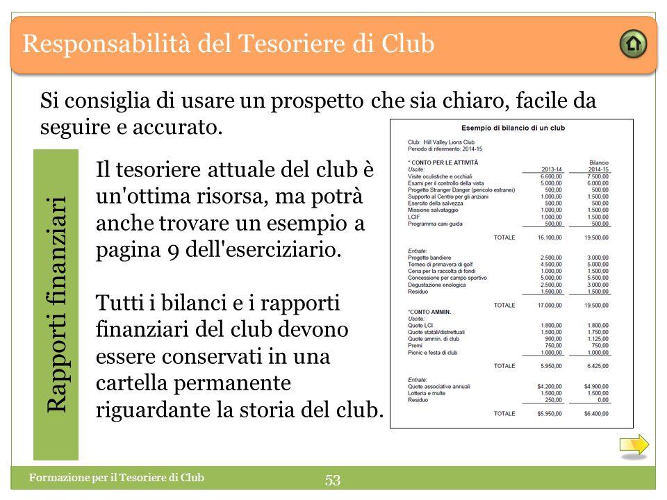 Responsabilità del Tesoriere di Club Rapporti finanziari Il tesoriere attuale del club è un ottima risorsa, ma potrà anche trovare un esempio a pagina 9 dell eserciziario.