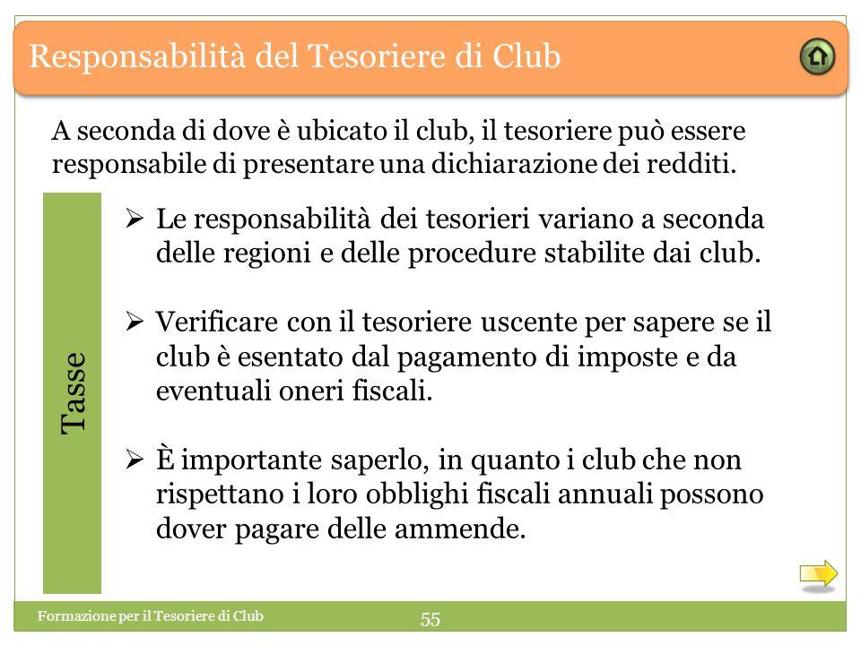 Responsabilità del Tesoriere di Club A seconda di dove è ubicato il club, il tesoriere può essere responsabile di presentare una dichiarazione dei redditi.