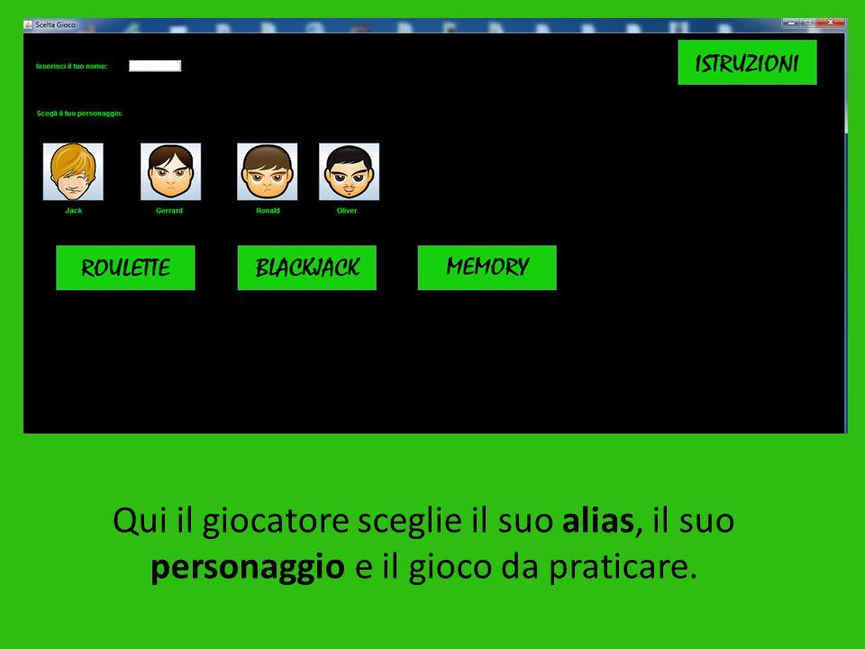 Qui il giocatore sceglie il suo alias, il suo personaggio e il gioco da praticare.