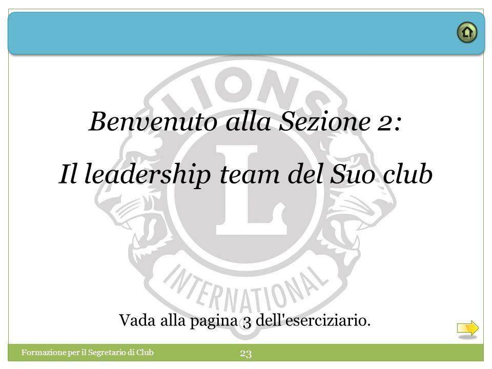 Formazione per il Segretario di Club 23 Benvenuto alla Sezione 2: Il leadership team del Suo club Vada alla pagina 3 dell'eserciziario.