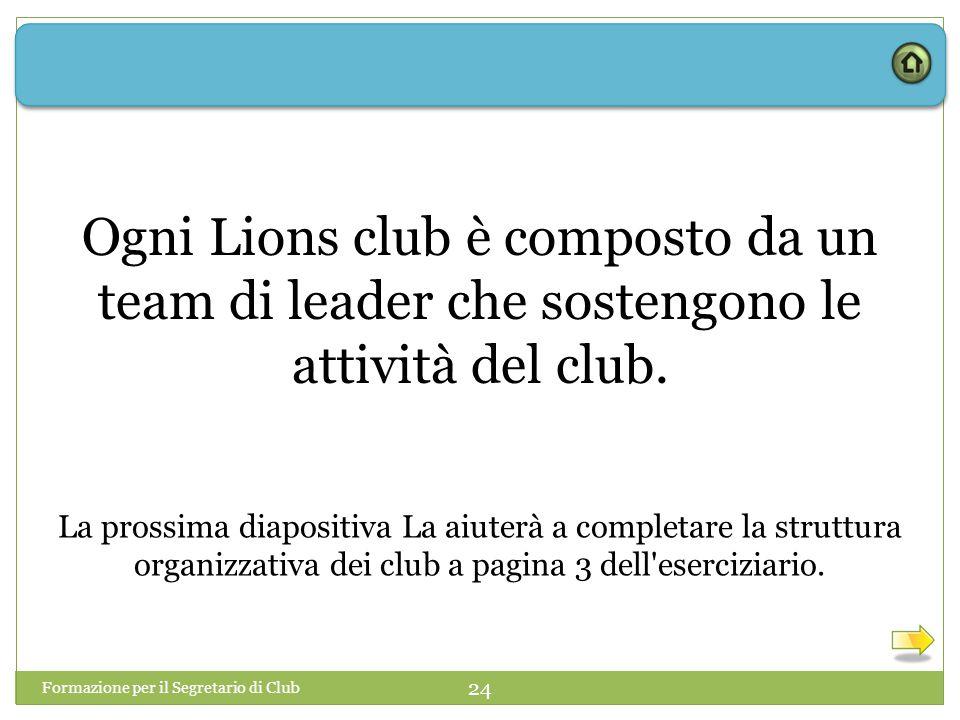 Formazione per il Segretario di Club 24 Ogni Lions club è composto da un team di leader che sostengono le attività del club. La prossima diapositiva L