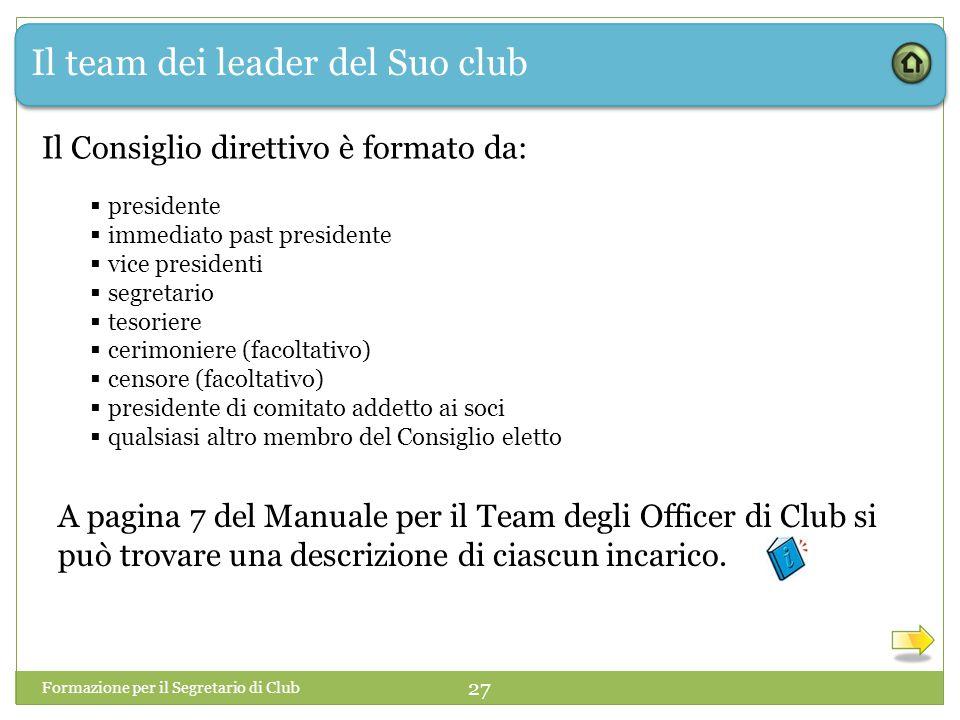Il team dei leader del Suo club Il Consiglio direttivo è formato da:  presidente  immediato past presidente  vice presidenti  segretario  tesorie