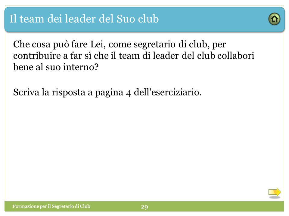 Il team dei leader del Suo club Che cosa può fare Lei, come segretario di club, per contribuire a far sì che il team di leader del club collabori bene