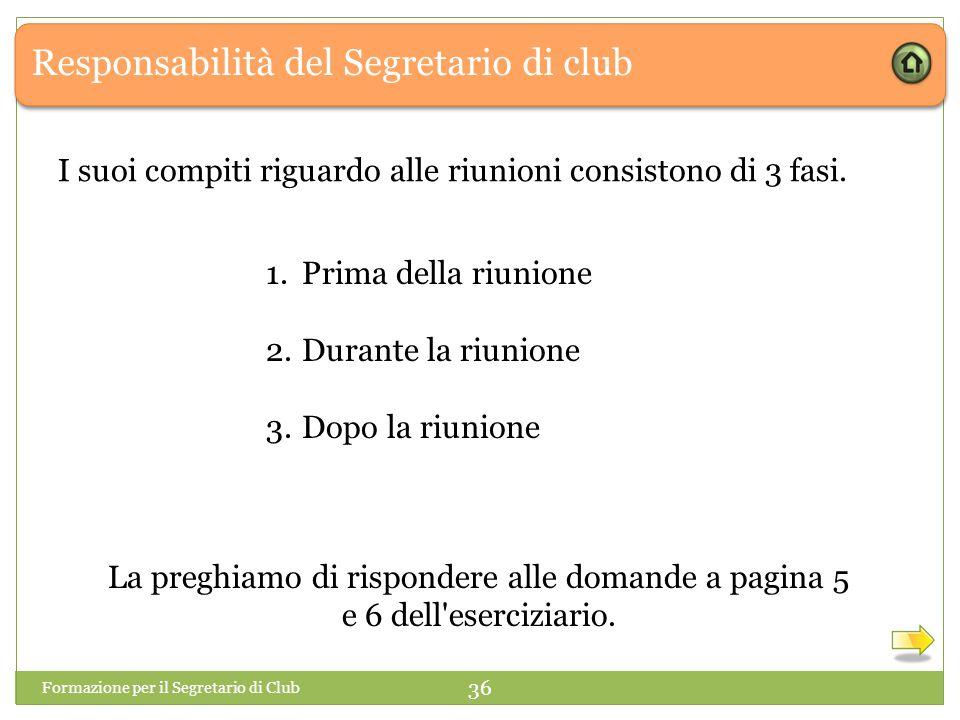 Responsabilità del Segretario di club I suoi compiti riguardo alle riunioni consistono di 3 fasi. 1.Prima della riunione 2.Durante la riunione 3.Dopo