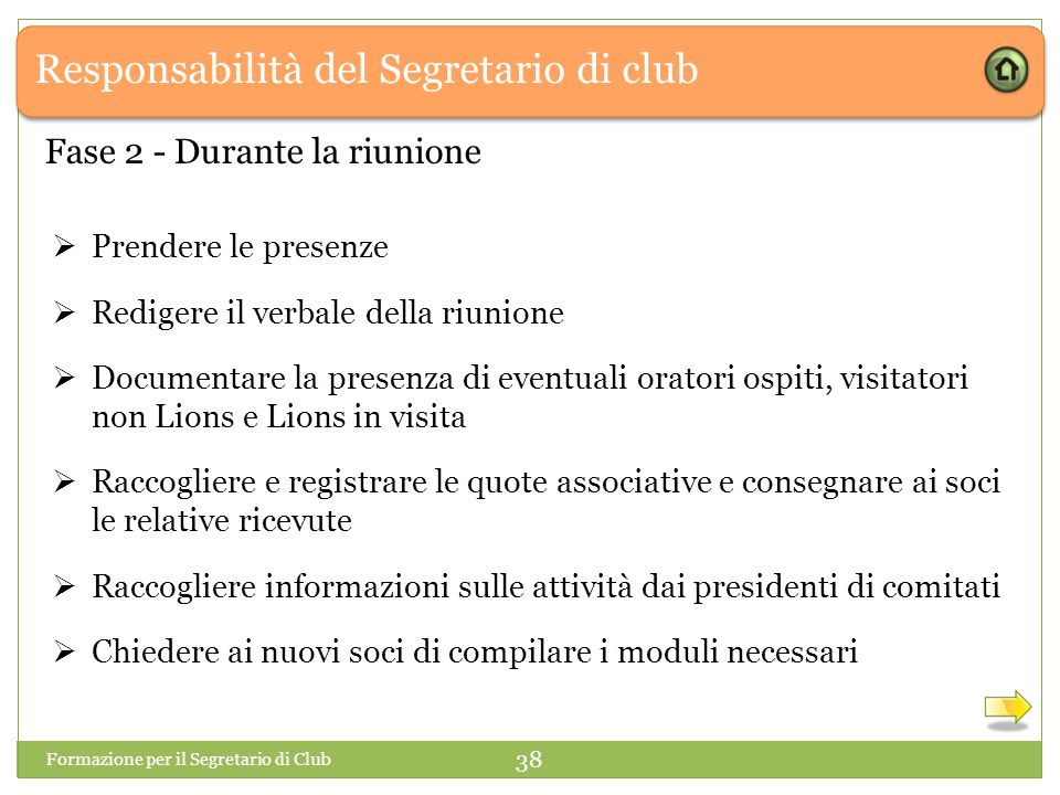 Responsabilità del Segretario di club  Prendere le presenze  Redigere il verbale della riunione  Documentare la presenza di eventuali oratori ospit