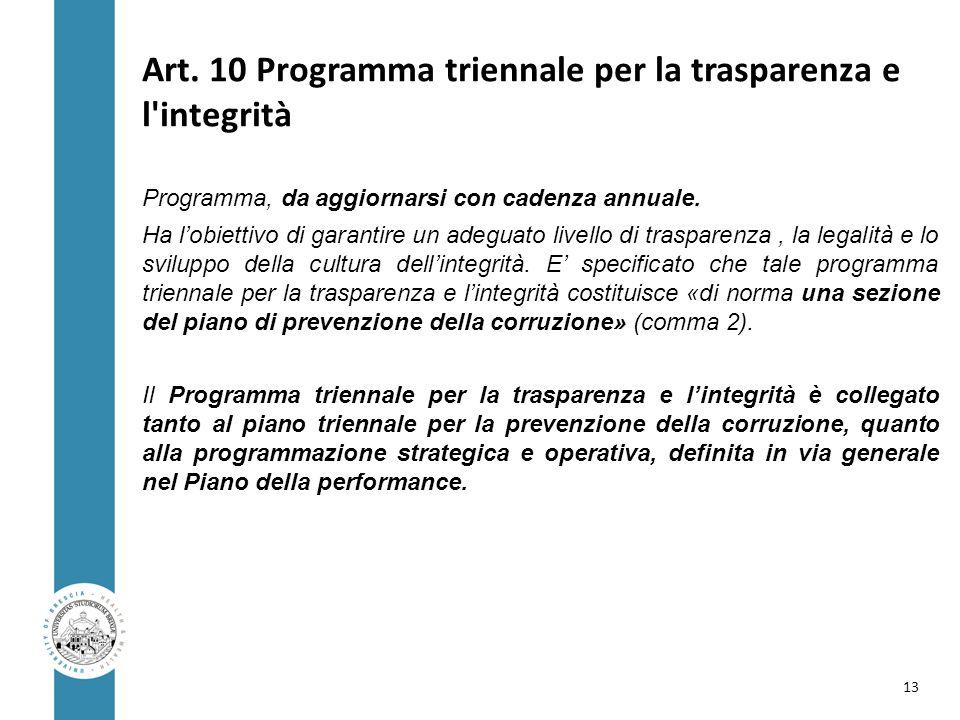 Art. 10 Programma triennale per la trasparenza e l'integrità Programma, da aggiornarsi con cadenza annuale. Ha l'obiettivo di garantire un adeguato li