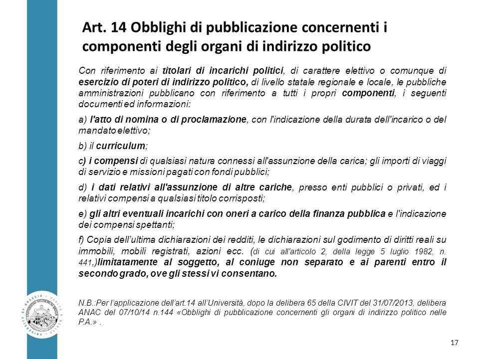 Art. 14 Obblighi di pubblicazione concernenti i componenti degli organi di indirizzo politico Con riferimento ai titolari di incarichi politici, di ca