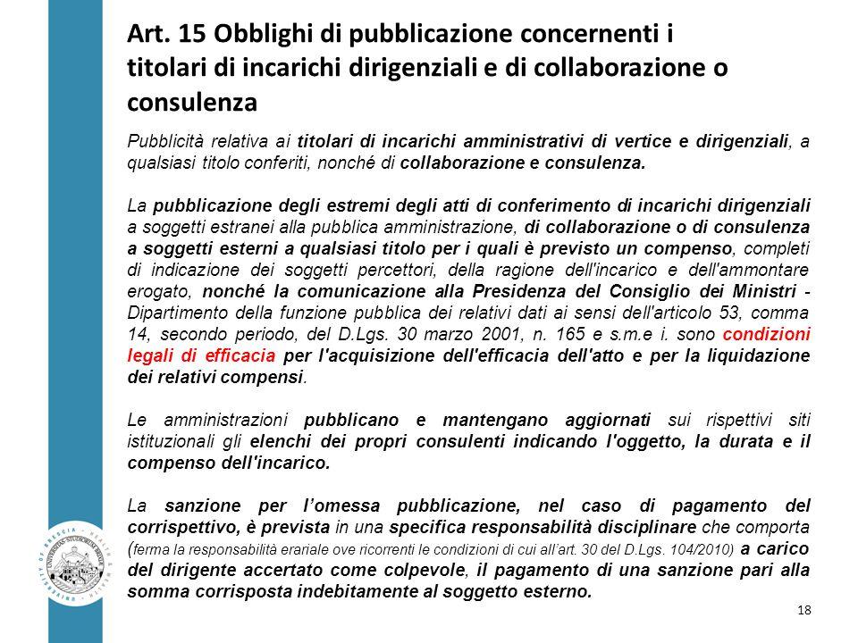 Art. 15 Obblighi di pubblicazione concernenti i titolari di incarichi dirigenziali e di collaborazione o consulenza Pubblicità relativa ai titolari di