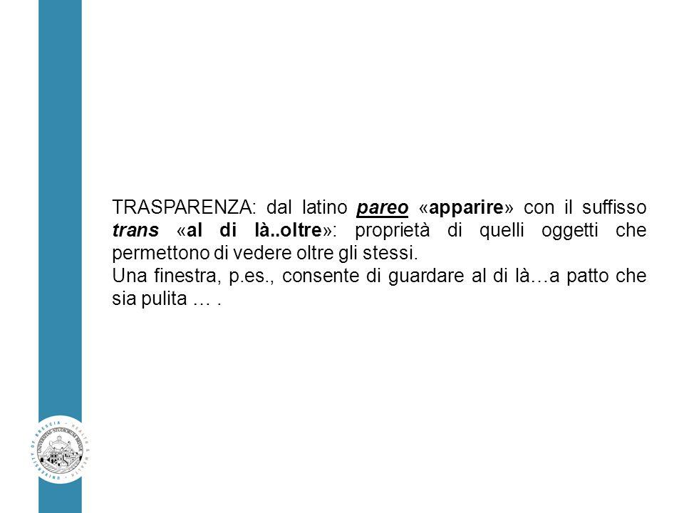 TRASPARENZA: dal latino pareo «apparire» con il suffisso trans «al di là..oltre»: proprietà di quelli oggetti che permettono di vedere oltre gli stess