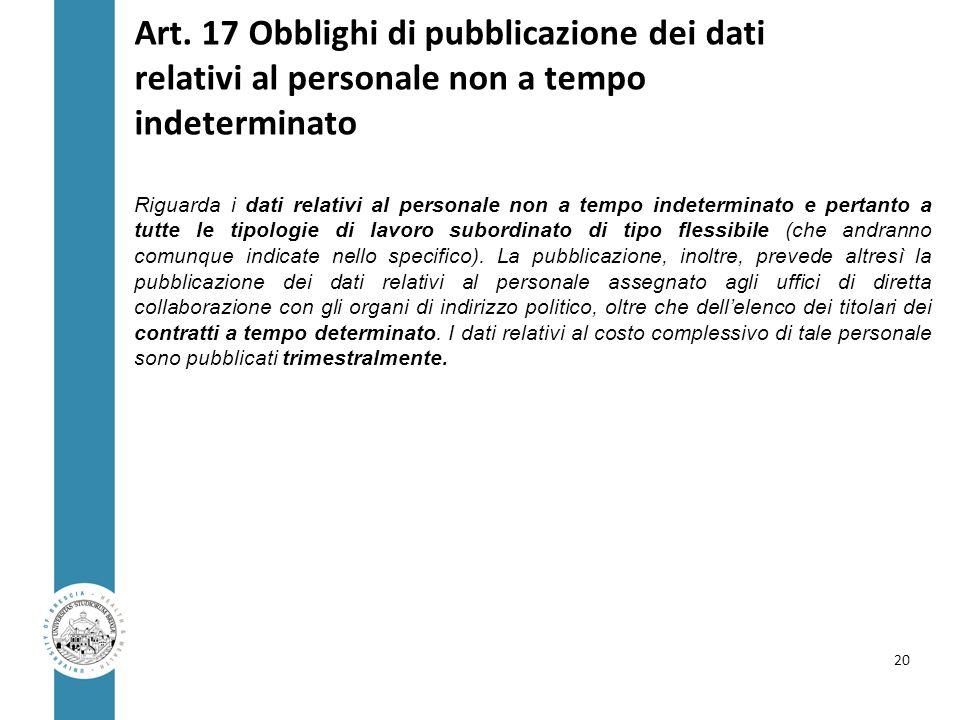 Art. 17 Obblighi di pubblicazione dei dati relativi al personale non a tempo indeterminato Riguarda i dati relativi al personale non a tempo indetermi