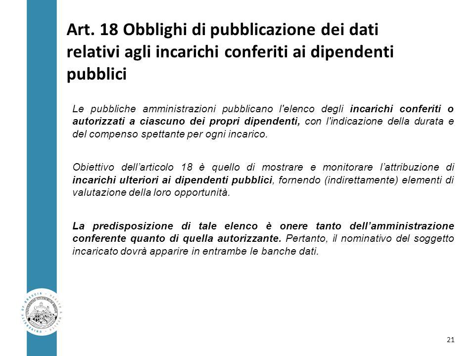 Art. 18 Obblighi di pubblicazione dei dati relativi agli incarichi conferiti ai dipendenti pubblici Le pubbliche amministrazioni pubblicano l'elenco d
