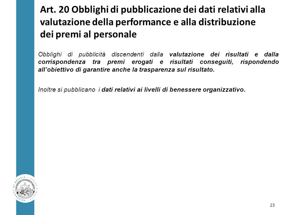 Art. 20 Obblighi di pubblicazione dei dati relativi alla valutazione della performance e alla distribuzione dei premi al personale Obblighi di pubblic