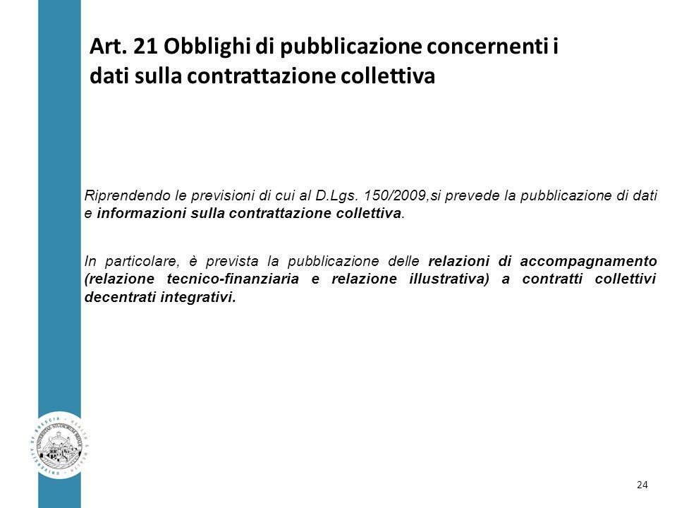 Art. 21 Obblighi di pubblicazione concernenti i dati sulla contrattazione collettiva Riprendendo le previsioni di cui al D.Lgs. 150/2009,si prevede la