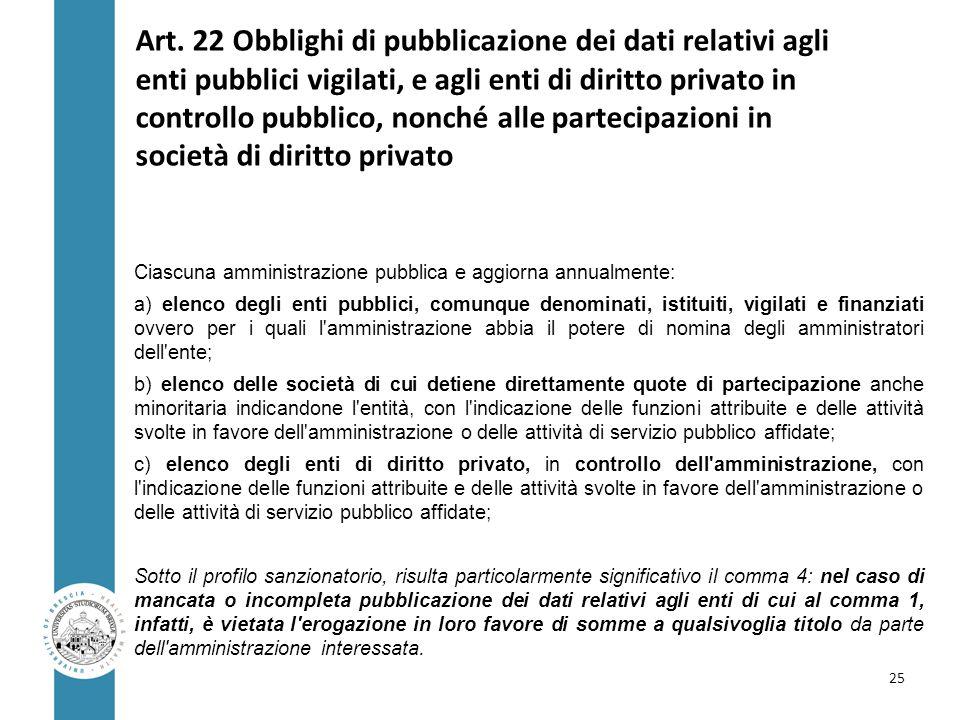 Art. 22 Obblighi di pubblicazione dei dati relativi agli enti pubblici vigilati, e agli enti di diritto privato in controllo pubblico, nonché alle par