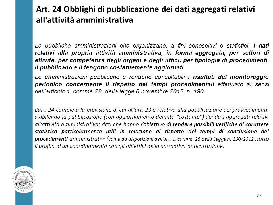 Art. 24 Obblighi di pubblicazione dei dati aggregati relativi all'attività amministrativa Le pubbliche amministrazioni che organizzano, a fini conosci