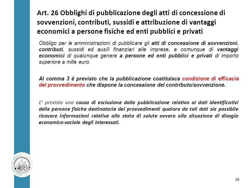 Art. 26 Obblighi di pubblicazione degli atti di concessione di sovvenzioni, contributi, sussidi e attribuzione di vantaggi economici a persone fisiche
