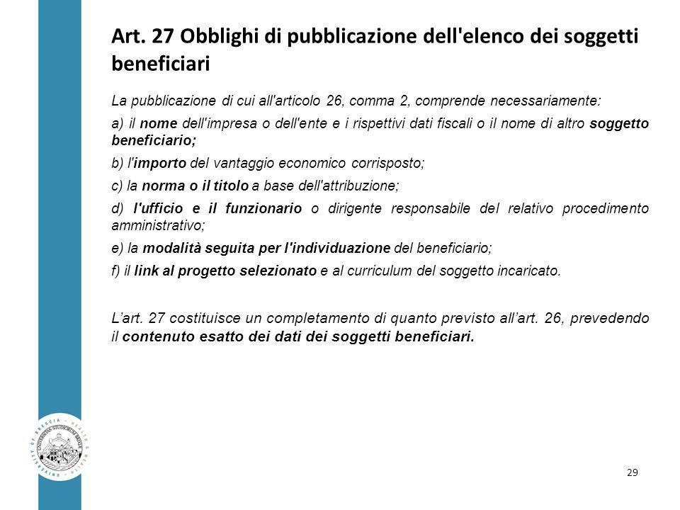 Art. 27 Obblighi di pubblicazione dell'elenco dei soggetti beneficiari La pubblicazione di cui all'articolo 26, comma 2, comprende necessariamente: a)