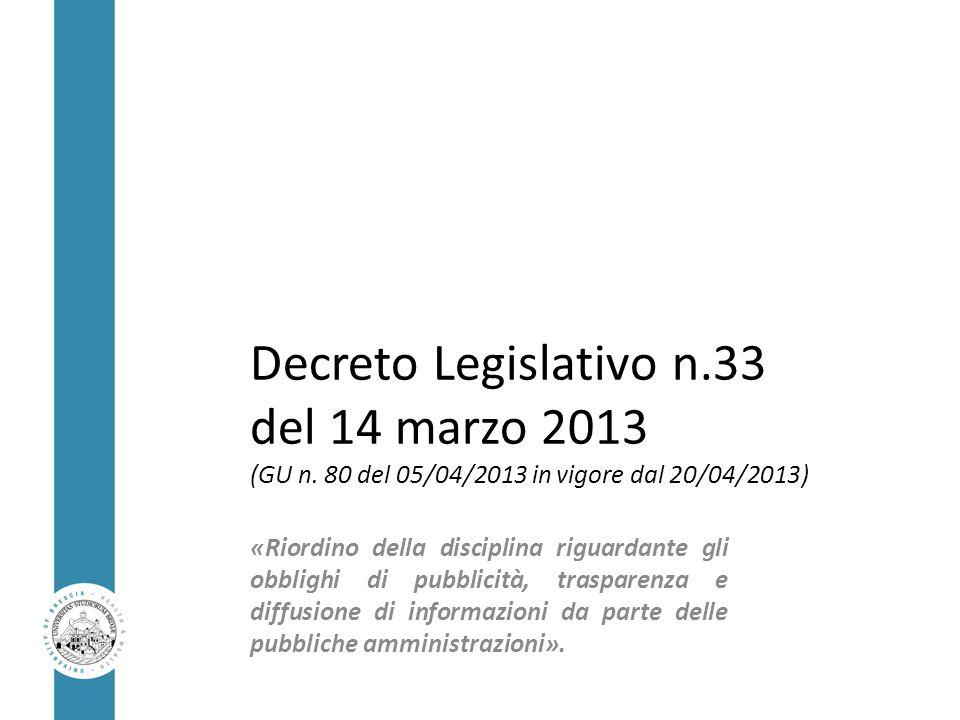 Decreto Legislativo n.33 del 14 marzo 2013 (GU n. 80 del 05/04/2013 in vigore dal 20/04/2013) «Riordino della disciplina riguardante gli obblighi di p