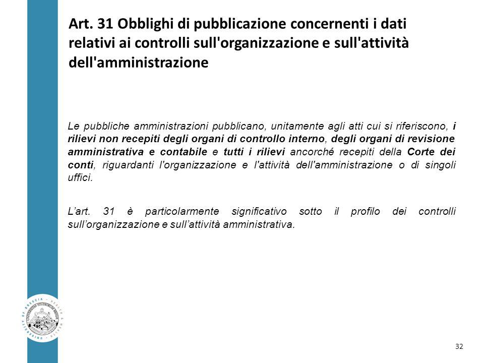 Art. 31 Obblighi di pubblicazione concernenti i dati relativi ai controlli sull'organizzazione e sull'attività dell'amministrazione Le pubbliche ammin
