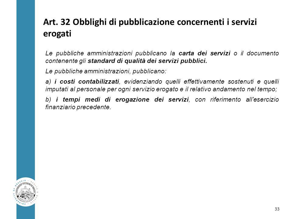 Art. 32 Obblighi di pubblicazione concernenti i servizi erogati Le pubbliche amministrazioni pubblicano la carta dei servizi o il documento contenente