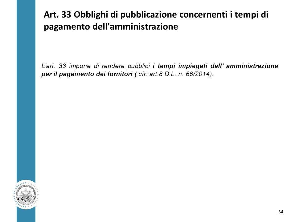 Art. 33 Obblighi di pubblicazione concernenti i tempi di pagamento dell'amministrazione L'art. 33 impone di rendere pubblici i tempi impiegati dall' a