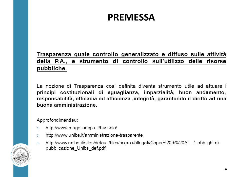 PREMESSA Trasparenza quale controllo generalizzato e diffuso sulle attività della P.A., e strumento di controllo sull'utilizzo delle risorse pubbliche