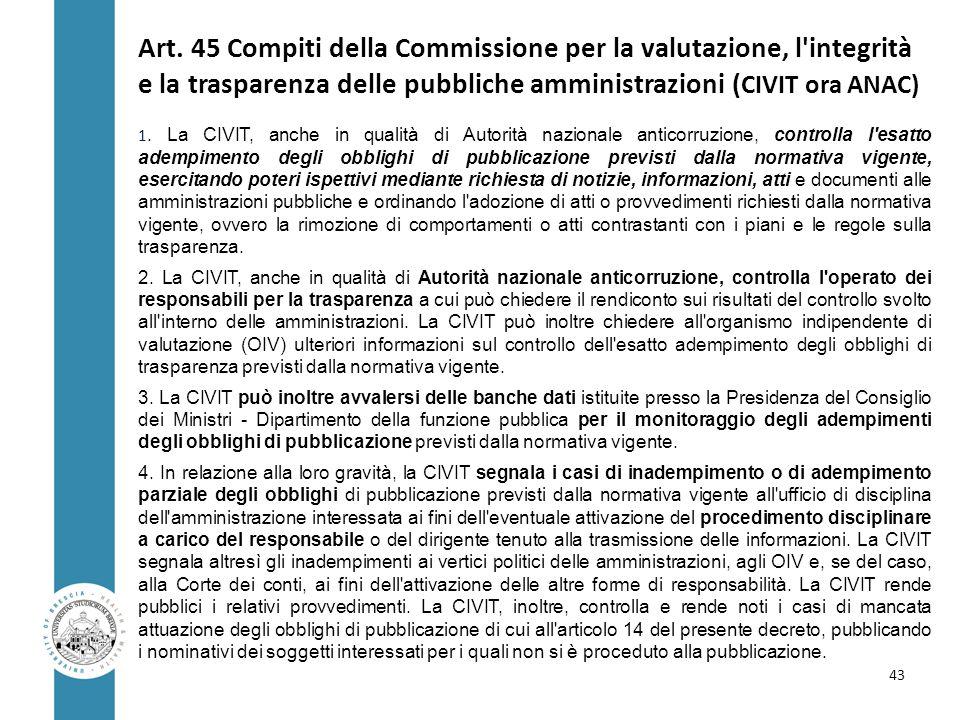 Art. 45 Compiti della Commissione per la valutazione, l'integrità e la trasparenza delle pubbliche amministrazioni ( CIVIT ora ANAC) 1. La CIVIT, anch