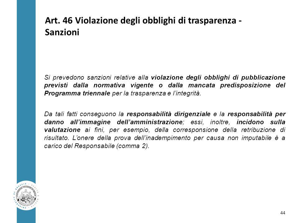 Art. 46 Violazione degli obblighi di trasparenza - Sanzioni Si prevedono sanzioni relative alla violazione degli obblighi di pubblicazione previsti da