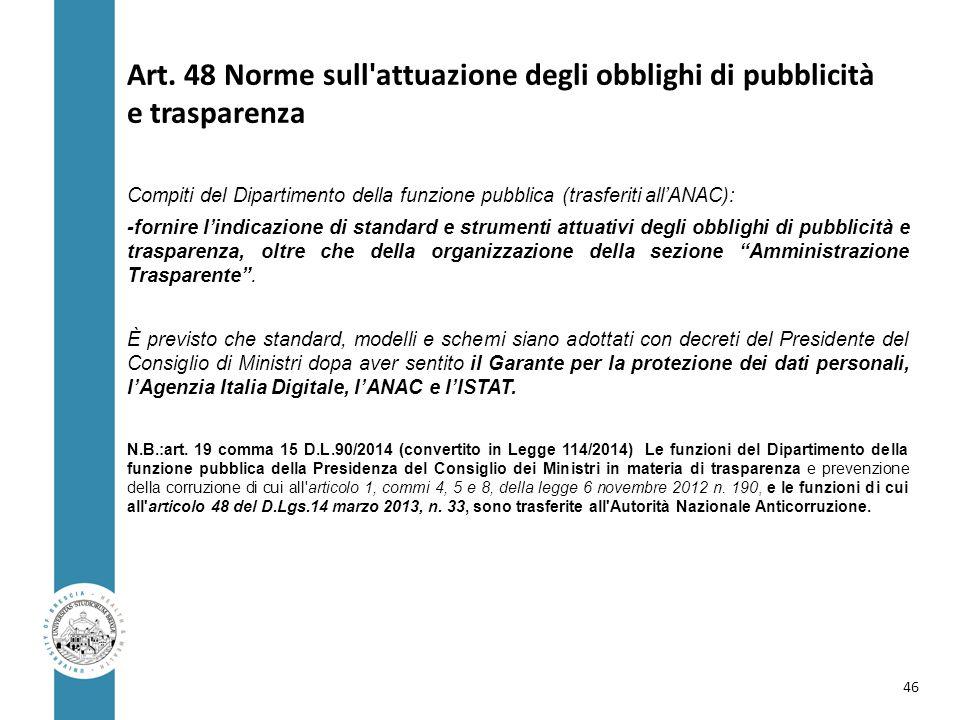 Art. 48 Norme sull'attuazione degli obblighi di pubblicità e trasparenza Compiti del Dipartimento della funzione pubblica (trasferiti all'ANAC): -forn